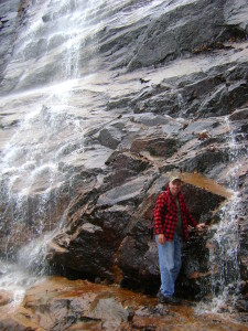 The author at Arethusa Falls, one of the locations described in the guide.