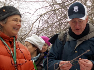 Prof. Hope Leeson, coordinator of RINHS's Rhody Native Initiative, and Prof. Keith  Killingbeck.
