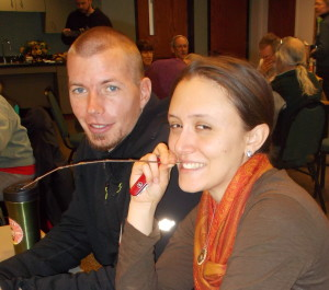 Kevin and Laura Craver-Rogers take a break from the task of keying out the samples.