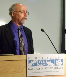 "Dr. David Blockstein, from the National Council for Science and the Environment, speaking at the Rhode Island Natural History Survey's ""Twenty Memorable Events for Twenty Memorable Years"" program. (photo: Hugh Markey)"