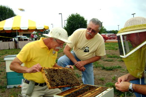 Jeff McGuire (L) remove a rack from a hive.