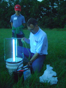 RINHS Executive Director David Gregg prepares a light trap, intended to lure moths.