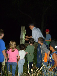 David Gregg, along with a gaggle of future lepidopterists, pauses to paint a post with a pungent moth attractant.