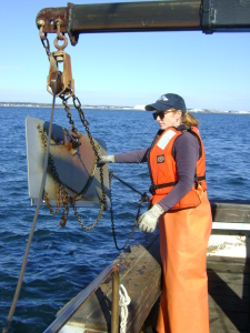School of Oceanography grad student Sarah Blackstock readies an otter board.