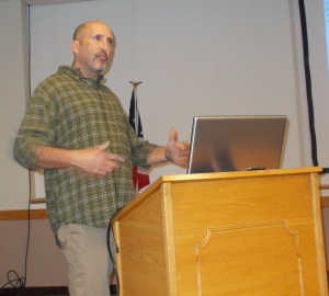 Mike Tucker speaks about hawk identification at the Seekonk Public Library.