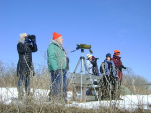 Dr. Bob Kenney (foreground in orange cap), volunteer guide with ASRI, discusses bird sightings with the group.