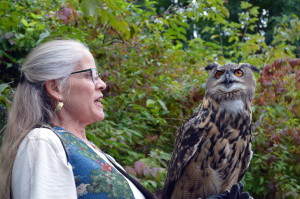Marcia Wilson with her Eurasian Eagle owl. This shot illustrates the size of the bird.
