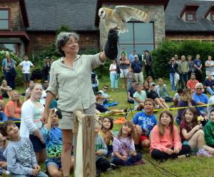 Lorrie Schumacher with a Barn owl.