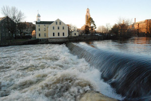 Slater Mill Dam in Pawtucket.  Photo Credit: https://www.flickr.com/photos/marc72/4439050969