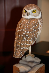 Burrowing Owl carving by Al Jordan. Photo by Hope Foley.